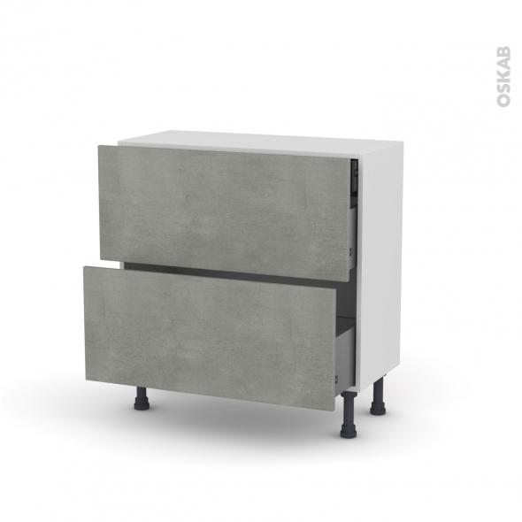 Meuble de cuisine - Casserolier - FAKTO Béton - 2 tiroirs 1 tiroir à l'anglaise - L80 x H70 x P37 cm