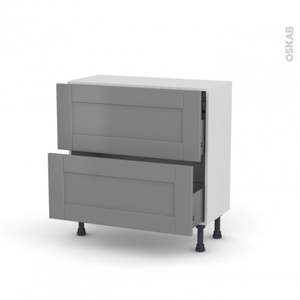 Meuble de cuisine - Casserolier - FILIPEN Gris - 2 tiroirs 1 tiroir à l'anglaise - L80 x H70 x P37 cm