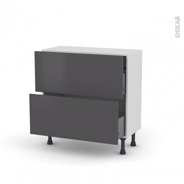 GINKO Gris - Meuble casserolier - 2 tiroirs-1 tiroir anglaise - L80xH70xP37
