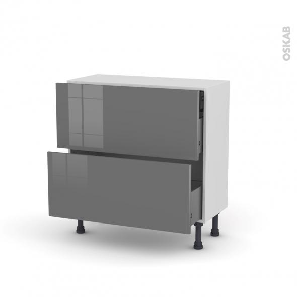 Meuble de cuisine - Casserolier - STECIA Gris - 2 tiroirs 1 tiroir à l'anglaise - L80 x H70 x P37 cm