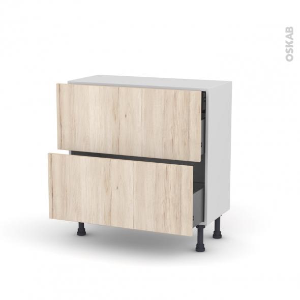 Meuble de cuisine - Casserolier - IKORO Chêne clair - 2 tiroirs 1 tiroir à l'anglaise - L80 x H70 x P37 cm