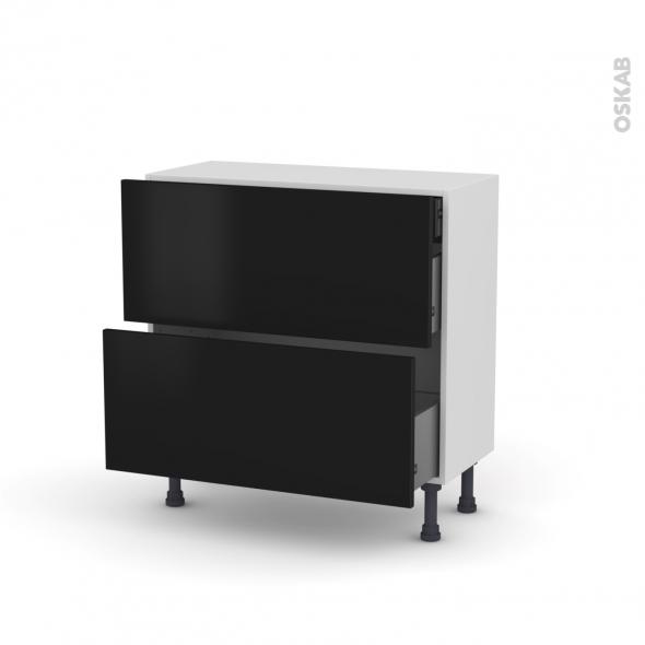 Meuble de cuisine - Casserolier - GINKO Noir - 2 tiroirs 1 tiroir à l'anglaise - L80 x H70 x P37 cm