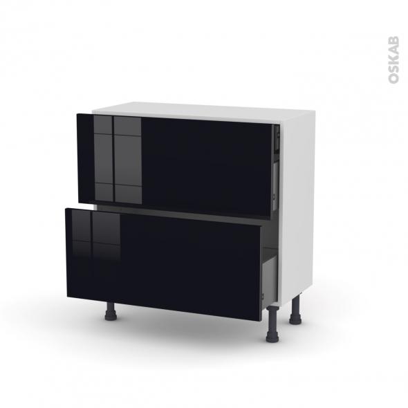 Meuble de cuisine - Casserolier - KERIA Noir - 2 tiroirs 1 tiroir à l'anglaise - L80 x H70 x P37 cm