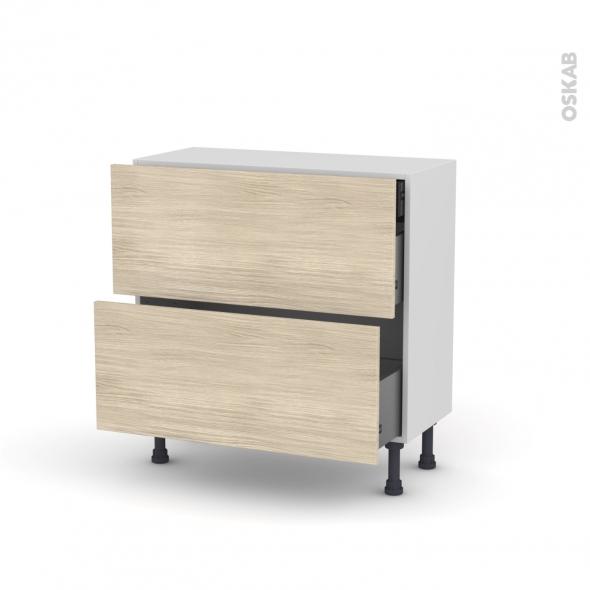 Meuble de cuisine - Casserolier - STILO Noyer Blanchi - 2 tiroirs 1 tiroir à l'anglaise - L80 x H70 x P37 cm