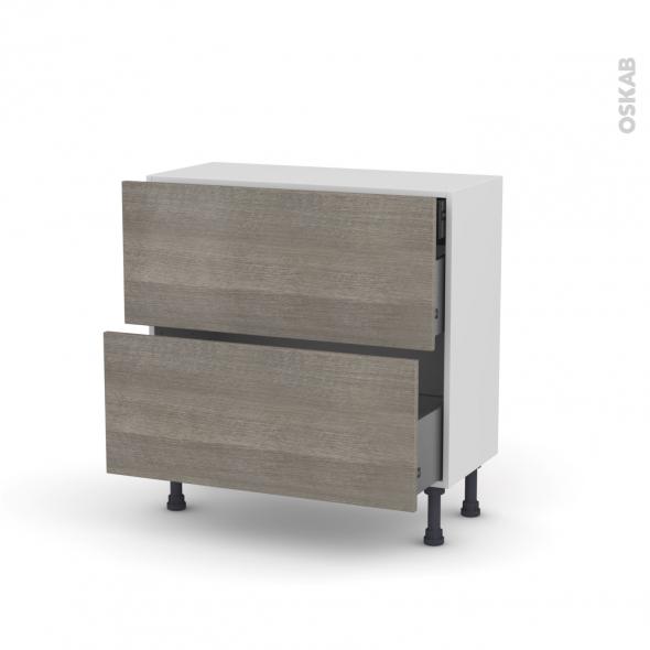 Meuble de cuisine - Casserolier - STILO Noyer Naturel - 2 tiroirs 1 tiroir à l'anglaise - L80 x H70 x P37 cm
