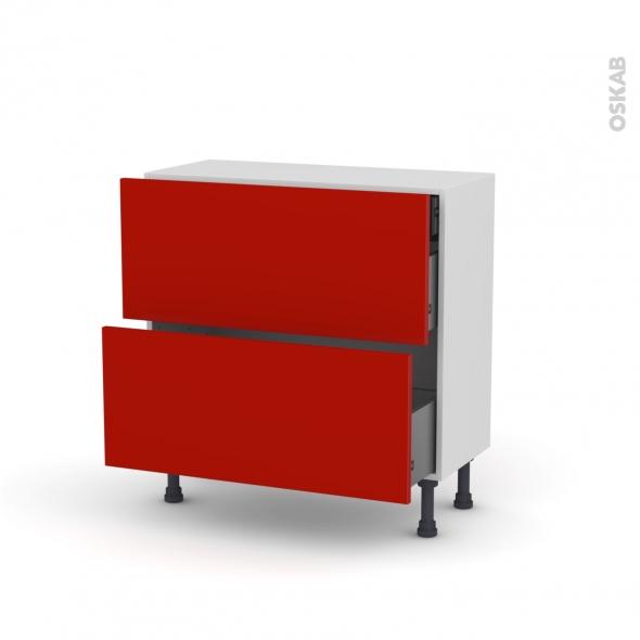 GINKO Rouge - Meuble casserolier - 2 tiroirs-1 tiroir anglaise - L80xH70xP37