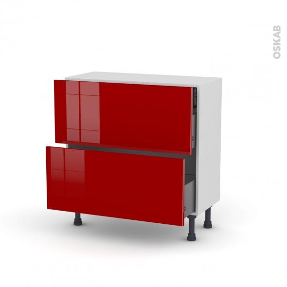 Meuble de cuisine - Casserolier - STECIA Rouge - 2 tiroirs 1 tiroir à l'anglaise - L80 x H70 x P37 cm