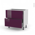 KERIA Aubergine - Meuble casserolier - 2 tiroirs-1 tiroir anglaise - L80xH70xP58