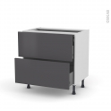 GINKO Gris - Meuble casserolier - 2 tiroirs-1 tiroir anglaise - L80xH70xP58