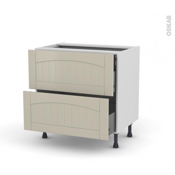 SILEN Argile - Meuble casserolier - 2 tiroirs-1 tiroir anglaise - L80xH70xP58