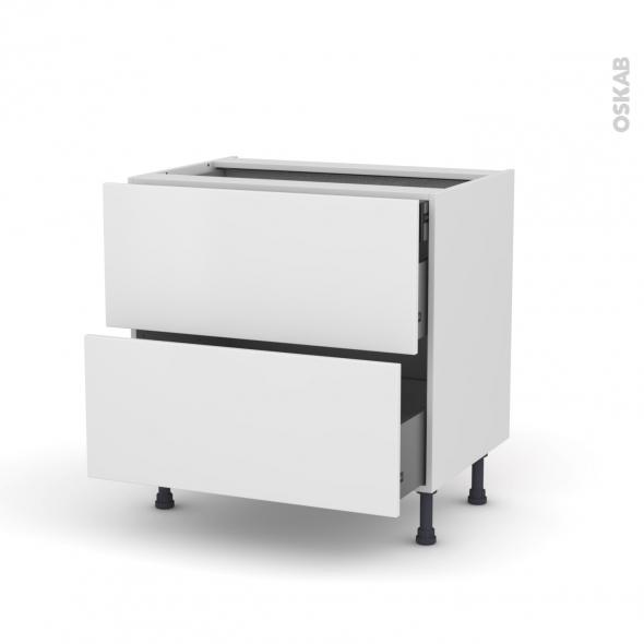 Meuble de cuisine - Casserolier - GINKO Blanc - 2 tiroirs 1 tiroir à l'anglaise - L80 x H70 x P58 cm