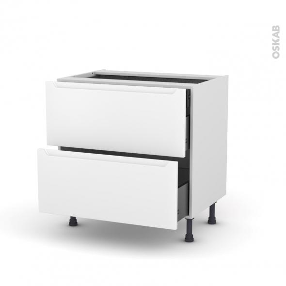 Meuble de cuisine - Casserolier - PIMA Blanc - 2 tiroirs 1 tiroir à l'anglaise - L80 x H70 x P58 cm