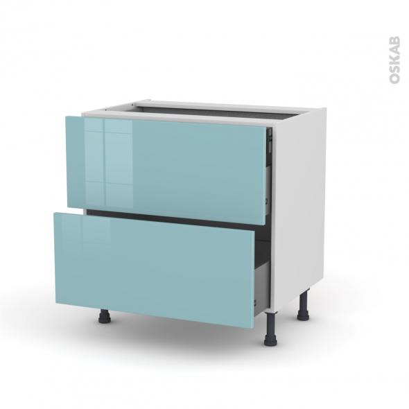 Meuble de cuisine - Casserolier - KERIA Bleu - 2 tiroirs 1 tiroir à l'anglaise - L80 x H70 x P58 cm