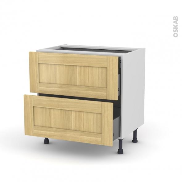 BASILIT Bois brut - Meuble casserolier - 2 tiroirs-1 tiroir anglaise - L80xH70xP58