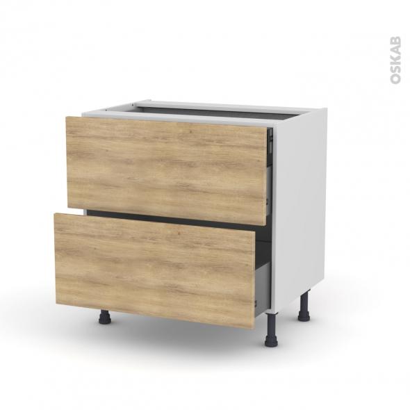 HOSTA Chêne naturel - Meuble casserolier - 2 tiroirs-1 tiroir anglaise - L80xH70xP58