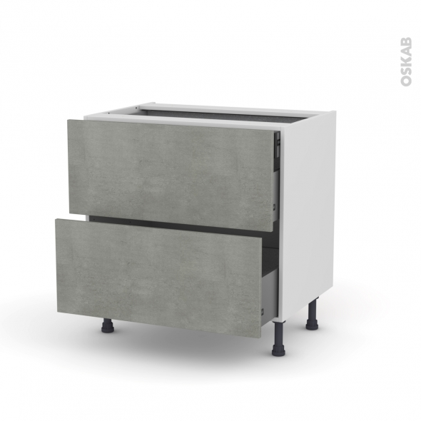 FAKTO Béton - Meuble casserolier - 2 tiroirs-1 tiroir anglaise - L80xH70xP58