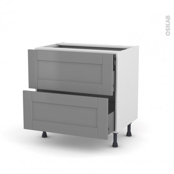 Meuble de cuisine - Casserolier - FILIPEN Gris - 2 tiroirs 1 tiroir à l'anglaise - L80 x H70 x P58 cm