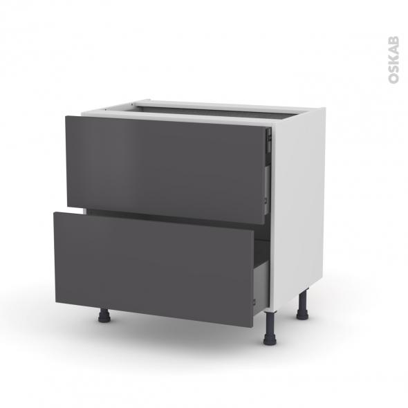 Meuble de cuisine - Casserolier - GINKO Gris - 2 tiroirs 1 tiroir à l'anglaise - L80 x H70 x P58 cm