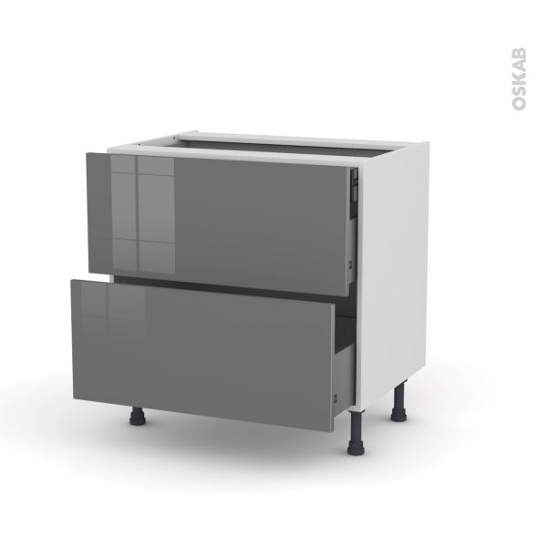 STECIA Gris - Meuble casserolier - 2 tiroirs-1 tiroir anglaise - L80xH70xP58