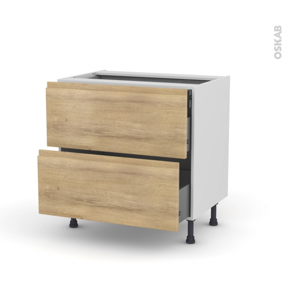 IPOMA Chêne naturel - Meuble casserolier - 2 tiroirs-1 tiroir anglaise - L80xH70xP58