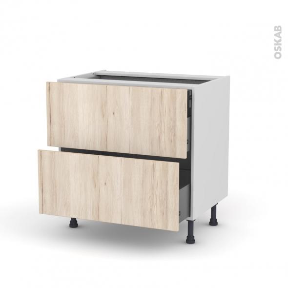 Meuble de cuisine - Casserolier - IKORO Chêne clair - 2 tiroirs 1 tiroir à l'anglaise - L80 x H70 x P58 cm