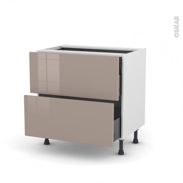 Meuble de cuisine - Casserolier - KERIA Moka - 2 tiroirs 1 tiroir à l'anglaise - L80 x H70 x P58 cm