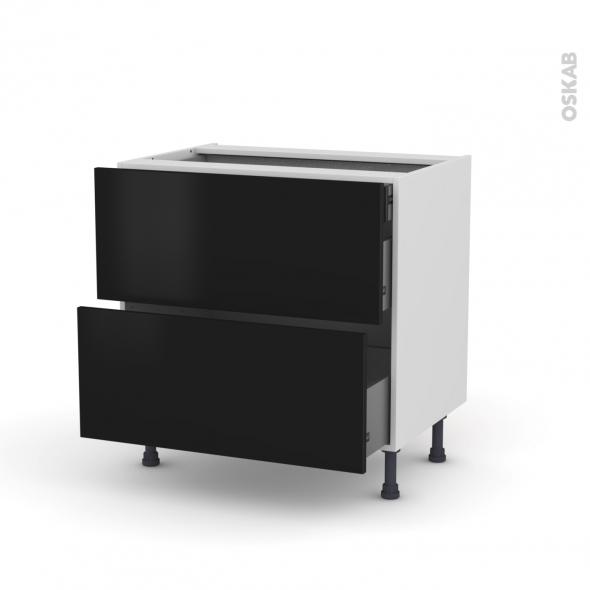 Meuble de cuisine - Casserolier - GINKO Noir - 2 tiroirs 1 tiroir à l'anglaise - L80 x H70 x P58 cm