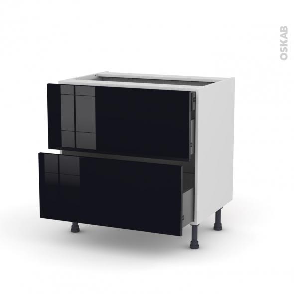 KERIA Noir - Meuble casserolier - 2 tiroirs-1 tiroir anglaise - L80xH70xP58