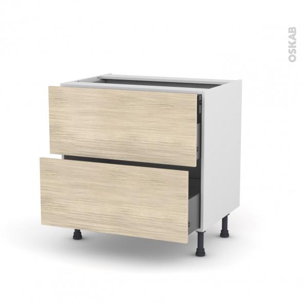 Meuble de cuisine - Casserolier - STILO Noyer Blanchi - 2 tiroirs 1 tiroir à l'anglaise - L80 x H70 x P58 cm
