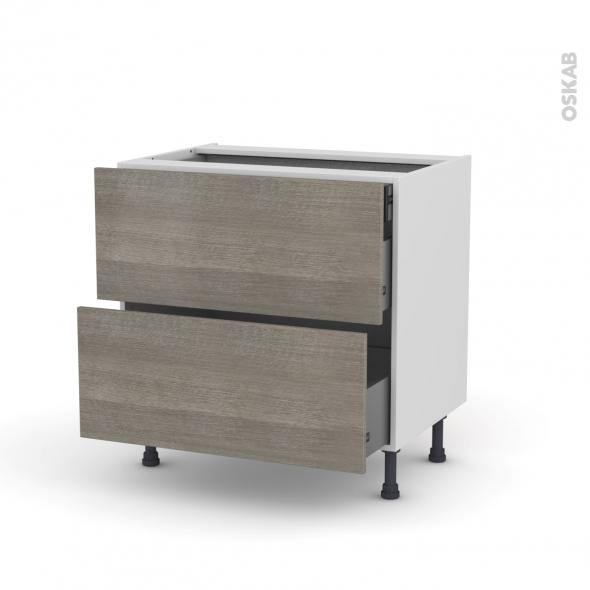 Meuble de cuisine - Casserolier - STILO Noyer Naturel - 2 tiroirs 1 tiroir à l'anglaise - L80 x H70 x P58 cm