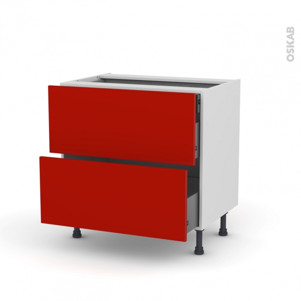 GINKO Rouge - Meuble casserolier - 2 tiroirs-1 tiroir anglaise - L80xH70xP58
