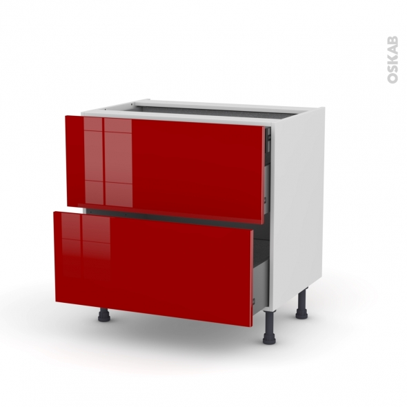 Meuble de cuisine - Casserolier - STECIA Rouge - 2 tiroirs 1 tiroir à l'anglaise - L80 x H70 x P58 cm