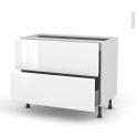 Meuble de cuisine - Casserolier - IRIS Blanc - 2 tiroirs - L100 x H70 x P58 cm