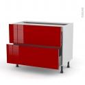 Meuble de cuisine - Casserolier - STECIA Rouge - 2 tiroirs - L100 x H70 x P58 cm