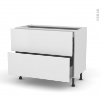 GINKO Blanc - Meuble casserolier  - 2 tiroirs - L100xH70xP58