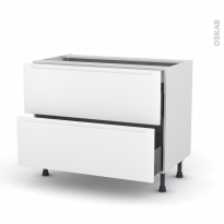 Meuble de cuisine - Casserolier - PIMA Blanc - 2 tiroirs - L100 x H70 x P58 cm
