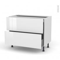 Meuble de cuisine - Casserolier - STECIA Blanc - 2 tiroirs - L100 x H70 x P58 cm