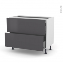 Meuble de cuisine - Casserolier - GINKO Gris - 2 tiroirs - L100 x H70 x P58 cm