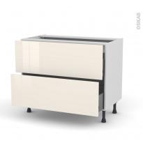 Meuble de cuisine - Casserolier - KERIA Ivoire - 2 tiroirs - L100 x H70 x P58 cm