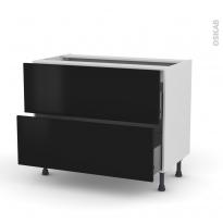 Meuble de cuisine - Casserolier - GINKO Noir - 2 tiroirs - L100 x H70 x P58 cm