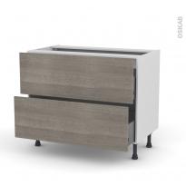 Meuble de cuisine - Casserolier - STILO Noyer Naturel - 2 tiroirs - L100 x H70 x P58 cm