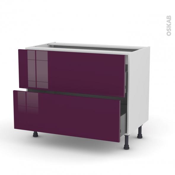 Meuble de cuisine - Casserolier - KERIA Aubergine - 2 tiroirs - L100 x H70 x P58 cm