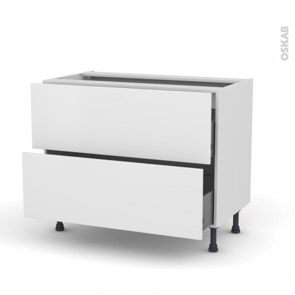 Meuble de cuisine - Casserolier - GINKO Blanc - 2 tiroirs - L100 x H70 x P58 cm