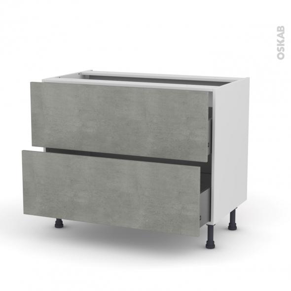Meuble de cuisine - Casserolier - FAKTO Béton - 2 tiroirs - L100 x H70 x P58 cm