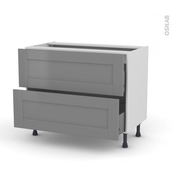 Meuble de cuisine - Casserolier - FILIPEN Gris - 2 tiroirs - L100 x H70 x P58 cm