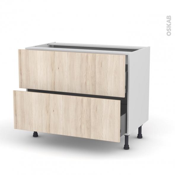 Meuble de cuisine - Casserolier - IKORO Chêne clair - 2 tiroirs - L100 x H70 x P58 cm