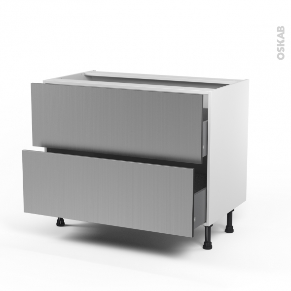 STILO Inox - Meuble casserolier  - 2 tiroirs - L100xH70xP58