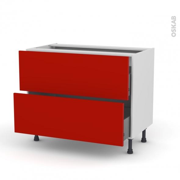 GINKO Rouge - Meuble casserolier  - 2 tiroirs - L100xH70xP58