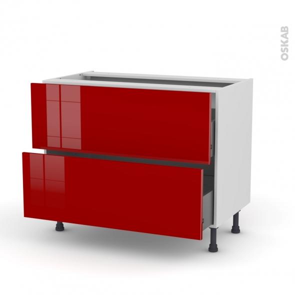 STECIA Rouge - Meuble casserolier  - 2 tiroirs - L100xH70xP58