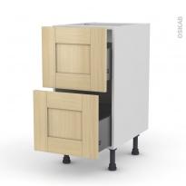 BASILIT Bois Vernis - Meuble casserolier  - 2 tiroirs - L40xH70xP58